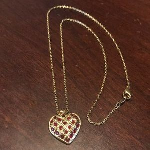 Avon Vintage Quilted Heart Res Gemstone Necklace
